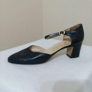SALVATORE FERRAGAMO Navy Block Heels Size 8.5